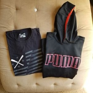 Puma sweatshirt  & under armour  tshirt